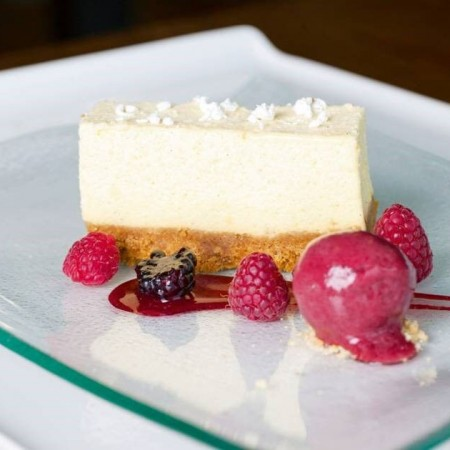 Lemon and Ginger Cheesecake with Raspberry Sorbet