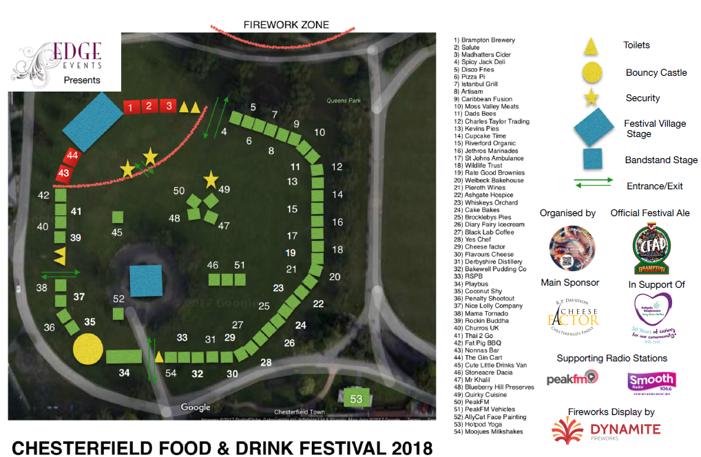 Chesterfield Food and Drink Festival 2018 Traders Map
