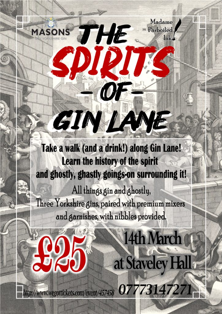 The Spirits of Gin Lane tasting Staveley Chesterfield